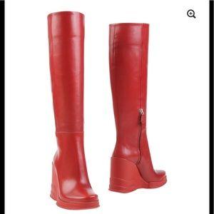 Prada Vitello Leather Rubber-Wedge Boot